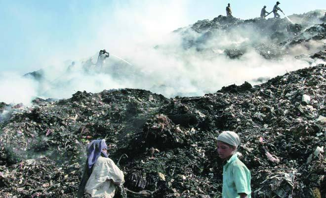 landfill site at maidan garhi  new delhi  india